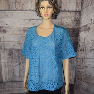 Beautiful City Streets Petite XL Teal Lace Blouse